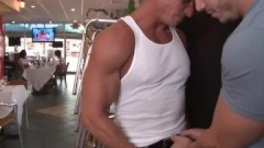 GAYWIRE - Muscular Studs Marc Dylan And The Rock Bump Uglies In Public Restaurant!
